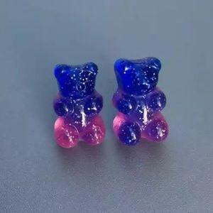 Jewelry - 🍭3/$15 Blue Pink Glitter Gummy Bear Stud Earrings